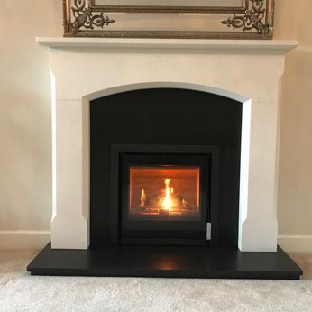 Westfire Inset stove with Bellingham Agean Limestone surround