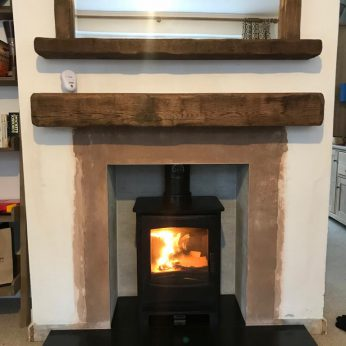 Broseley Evolution 5 multi fuel deep beam aged oak