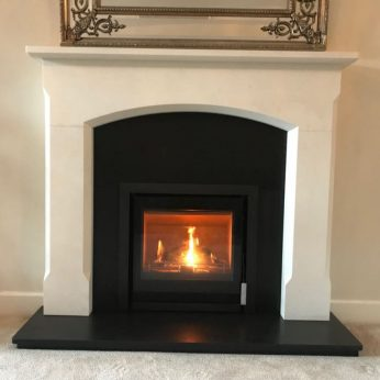 Westfire Inset stove with Bellingham Agean Limestone surround 2